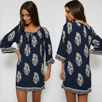 Leaf Print Tie-Neck Tunic Dress [8295307527]