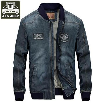 AFS JEEP Brand Jeans Jacket Men Autumn Winter Fleece Denim Jacket Coat Men Windbreaker Stand Collar Fashion Man Jacket M-4XL