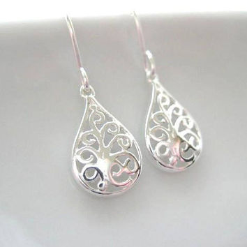 Small Filigree Earrings Dainty Sterling by JulieEllynDesigns