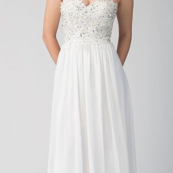 Starbox USA 6197 - Strapless Formal White Evening Dress Chiffon A Line