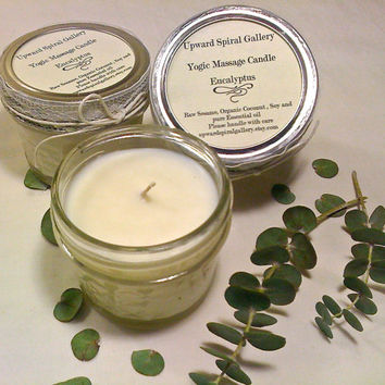 Eucalyptus 8 oz. mini mason jar massage candle. Sesame Coconut Soy Vegan Massage candle. Valentine's Day gift idea.