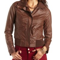 Quilted Faux Leather Bomber Jacket by Charlotte Russe - Chocolate
