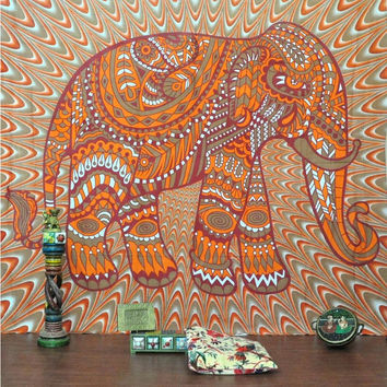 Brown Elephant Print Beach Towel