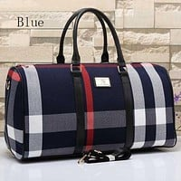 Burberry Popular Women Men Casual Outdoor Travel Bag Leather Tote Handbag Shoulder Bag Blue I