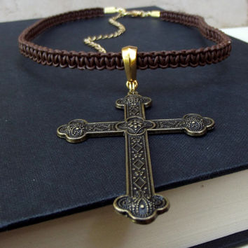 Large Cross Necklace:  Chocolate Brown Leather Macrame Cord Unisex Jewelry, Antiqued Gold Brass Religious Choker