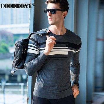 High Quality Knitted Merino Wool Sweater Men Clothing Casual Striped O-Neck Sweaters Soft Warm Cashmere Pullover