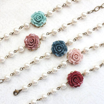 Bridemaids Bracelet Navy Blue Rose Bracelet with pearls Teal Rose Antique Dusty Rose Flower Bracelet Burgundy Deep Red Rose Wedding Jewelry