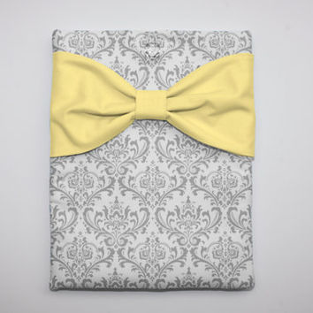 MacBook Pro / Air Case, Laptop Sleeve - Gray and White Damask with Yellow Bow - Double Padded