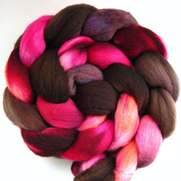 merino wool roving, spinning fiber, spinning fibre, hand dyed roving, hand painted roving, kettle dyed roving, combed top, pink orange brown