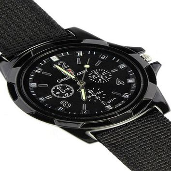 Army Racing Force Military Sports Men Officer Canvas Band Watch
