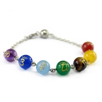 7 Chakra Reiki Carved Beads Chain Bracelet
