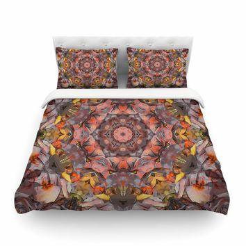 "Justyna Jaszke ""Mandala Peace"" Brown Yellow Abstract Pattern Digital Mixed Media Featherweight Duvet Cover"