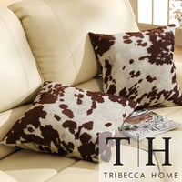 TRIBECCA HOME Decor Cow Hide Print Pillow (Set of 2) | Overstock.com