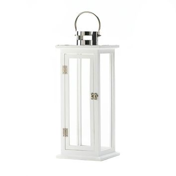 White Wooden Large and Medium Candle Lanterns
