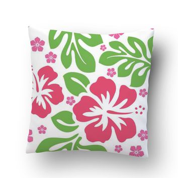 Green and Pink Hibiscus Hawaiian Throw Pillow Case from Surfer Bedding