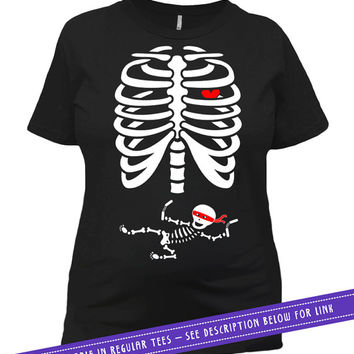 Pregnant Skeleton T Shirt Halloween Pregnancy Announcement Maternity Shirt Pregnancy TShirt Gifts For Expecting Mothers Ladies Tee MAT-15