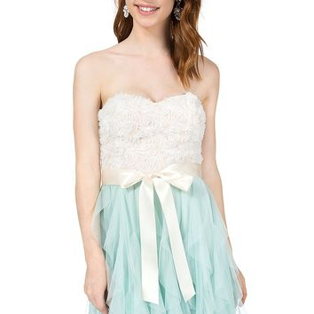 Teeze Me | Strapless Soutache Top Petal Dress | Off-White/Aqua