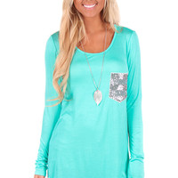 Mint Sequin Pocket Long Sleeve Top