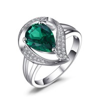 Jewelry Palace Pear 1.9ct Nano Russian Simulated Emerald Ring Solid 925 Sterling Silver