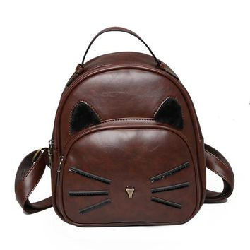 Cute Cat Design PU Leather Mini Backpack Women Backpacks For Teenage Girls School Bags Lady's Small Vintage Knapsack Travel Bags