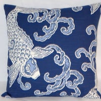 "Navy Koi Throw Pillow Indigo Blue White Fish Carp Waves Oriental Style 17"" Cotton Square Ready Ship Cover and Insert"