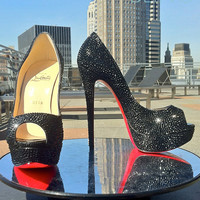 Urban Bling Christian Louboutin Lady Peep Strass Strassing Custom SERVICE 35.5 36 37 38 39
