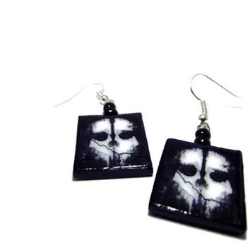 CoD Call of Duty Ghosts Skull Earrings, Silver Toned, Silver Plated, or 22k Gold Plated, Gamer Jewelry, Glass Beads, Black