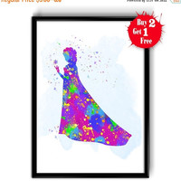ON SALE 25% OFF Elsa princess print, Frosen Elsa Watercolor Art, Canvas print, Kids room wall decor, Nursery Decor