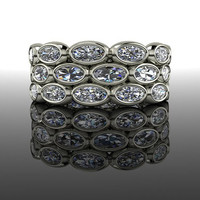 CONFETTI Eternity Band Oval Forever Brilliant Moissanite 2.90 CTW