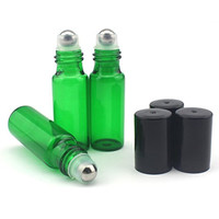 Mavogel 5ml Glass Roller Bottles--Set of 6 with With Metal Ball for Essential Oil,Aromatherapy,Perfumes and Lip Balms, Green