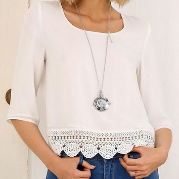 White Backless Lace Panel Chiffon Blouse