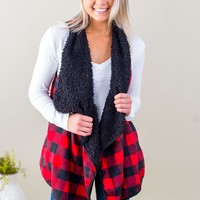 ST-Buffalo Plaid Fur Vest