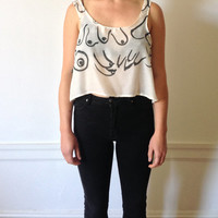 Sheer Hand Painted Boob Crop Tank