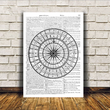 Modern decor Compass poster Nautical art Dictionary print RTA366