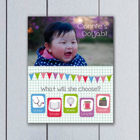 Doljabi Board Custom Korean Dol photo pennant / printable pdf / korean hanbok first birthday party children baby 1st year what will choose