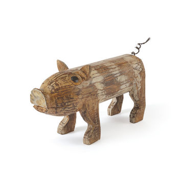 Pig Figurine in Wood White-Wash Finish