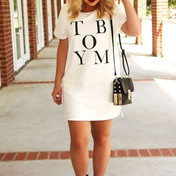 RESTOCK: Shes A Tomboy Tunic: White/Black