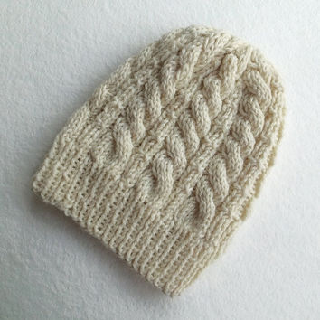 FREE SHIPPING,Hand Knitted Beanie in Cream,Men's Hat,Women Hat,Woolen Hat,Handmade Warm Hat,Teens Winter Beanie,Knit Women Accessory,Unisex