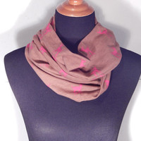 Infinity Scarf, Small cute does, brown infinity scarf, scarves and wraps, Summer scarves, deer scarf, brown and pink accessories, country