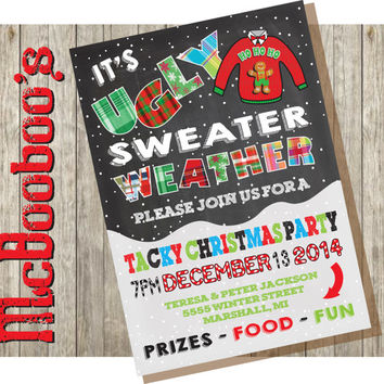 Ugly Tacky Christmas Sweater Party Invitations on a snowy chalkboard background