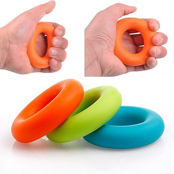 Mini colorful Strength Finger Hand Grip Muscle Power Training Rubber Ring Exerciser Silicone durable stress reliever