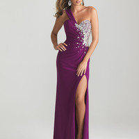 Purlple Embellished Jersey Sweetheart One Shoulder Prom Dress - Unique Vintage - Cocktail, Pinup, Holiday & Prom Dresses.