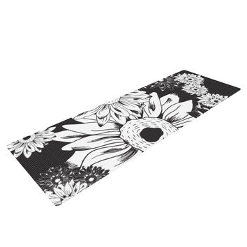"Laura Escalante ""Midnight Florals"" Black Sunflower Yoga Mat"