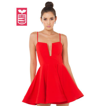 HYD Wedding Party A-line Dresses 2016 OL Fashion Low-cut V-neck Sexy Womens Spaghetti Strap Racerback Red Vestidos Summer