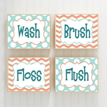 Wash Brush Floss Flush Bathroom Rules, Child Kid BATHROOM Rules, Boy Girl Bathroom CANVAS or Prints Aqua Coral Bathroom Wall Decor, Set of 4