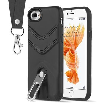 7 8 7Plus 8Plus Hybrid Stand Hard Plastic Phone Case Soft TPU Back Cover Case for iPhone 8 X with Lanyard Case for 7 Plus 8 Plus