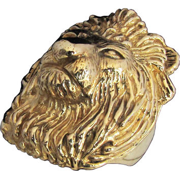 Bronze Large Head of a Lion Ring Detailed Animal Sculpture - King of the Jungle