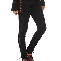 Royal Bones Black Lace-Up Side Skinny Pants | Hot Topic