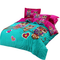 Owl Linens kids/adults bedding sets 4or3pc bedcover  king queen twin double size duvet quilt cover sheet pillowcases