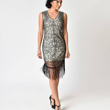 1920s Black & Nude Beaded Fringe Flapper Dress